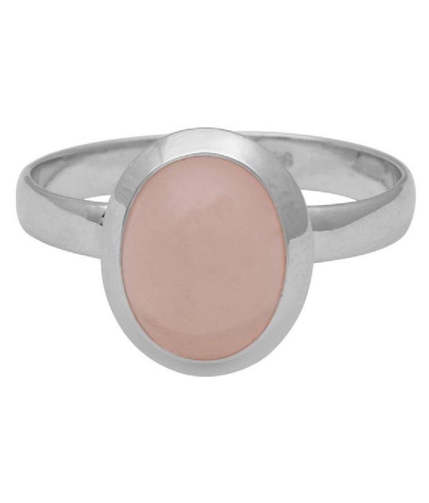 Silver Rose quartz Ring 6.5 ratti   Rose quartz Ring by Ratan Bazaar