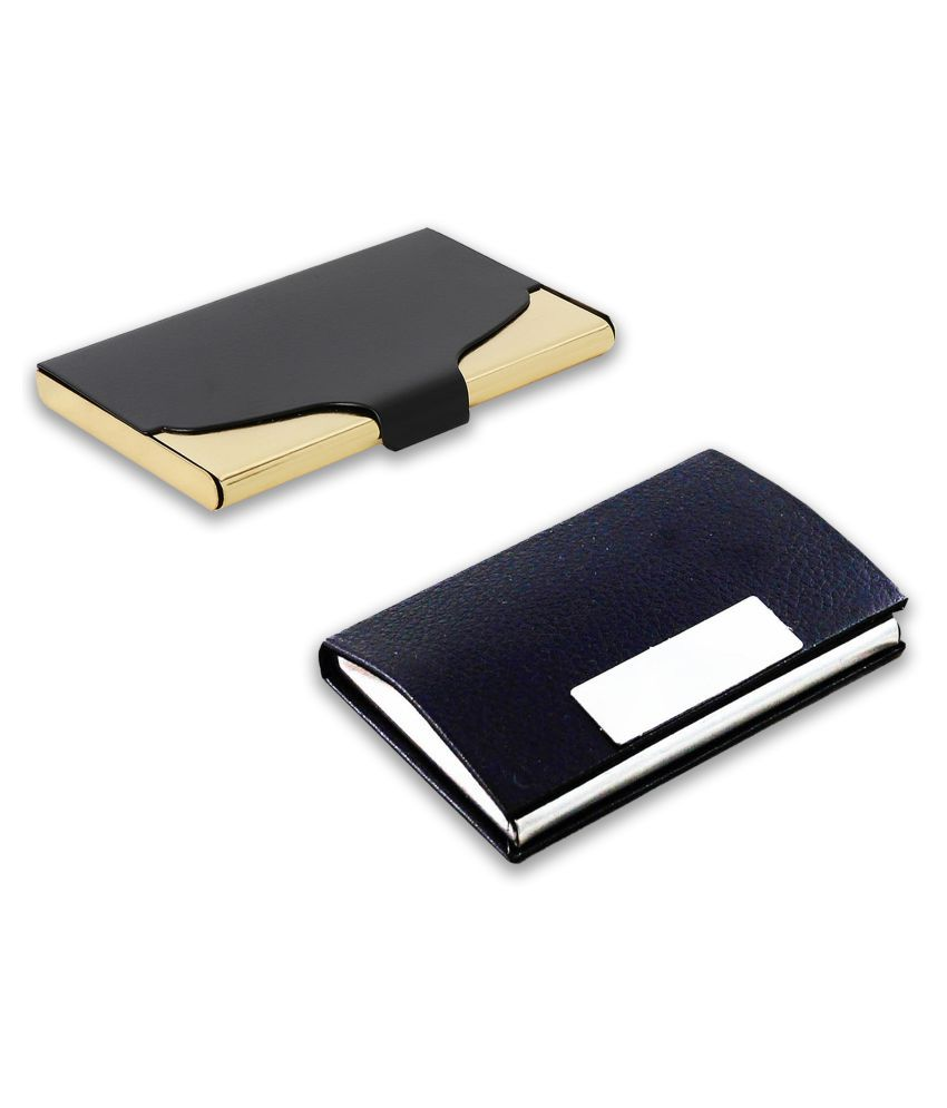 auteur A18-59  Multicolor Artificial Leather Professional Looking Visiting Card Holders for Men and Women Set of 2 (upto 15 Cards Capacity)