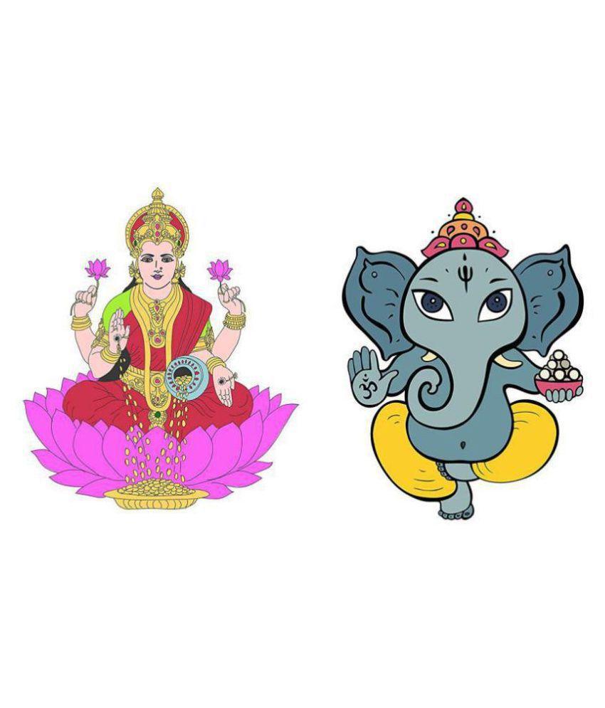 Asmi Collection Goddess Lakshmi and God Ganesha Religious  amp; Inspirational Sticker   40 x 35 cms