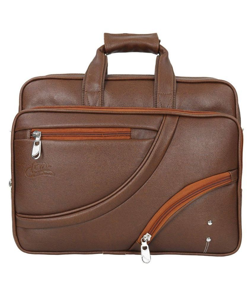 Leather Gifts up to 17 inch laptop Tan P.U. Office Bag
