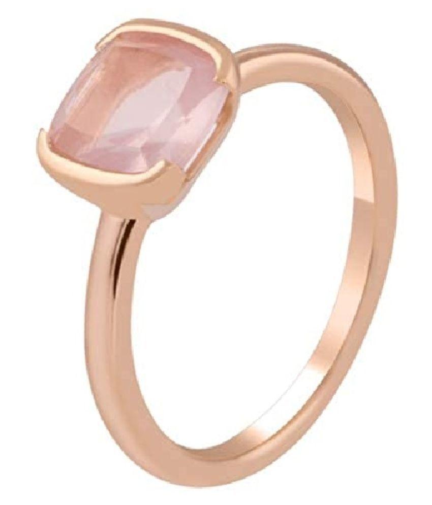 9.25 Carat Stone Rose quartz Gold Plated Ring for unisex by Kundli Gems \n