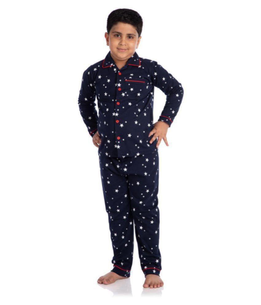 Nite Flite Boys' Starry Night Full Sleeve Cotton Pyjama Set