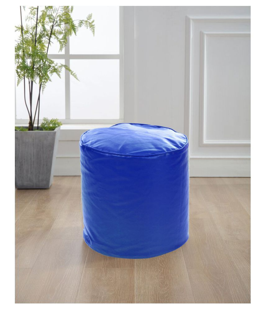 Style Homez Premium Leatherette Round Bean Bag Ottoman Stool L Size Royal Blue Color Cover Only