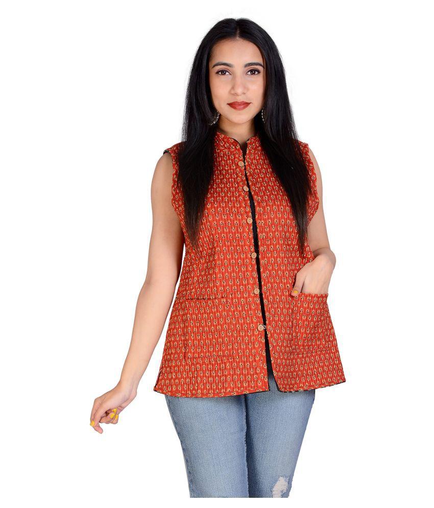 rajeraj Cotton Red Ethnic Jacket