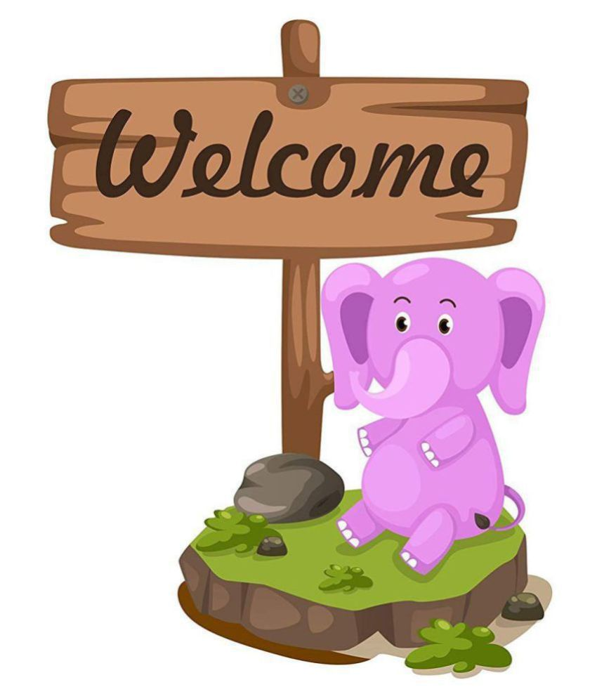 Asmi Collection Welcome Home Cute Baby Elephant Animals Sticker   40 x 30 cms