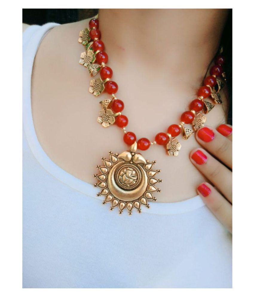 Darshini Designs Copper Red Traditional Necklaces Set Collar