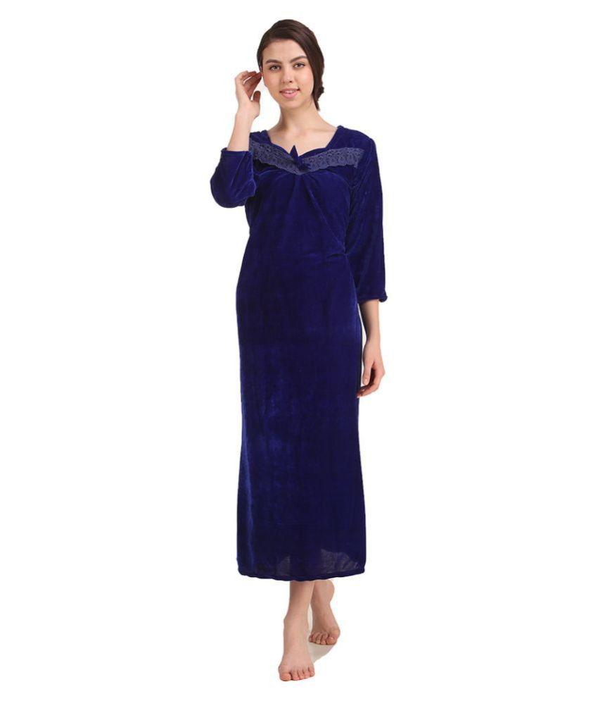 Gospel Velvet Nighty & Night Gowns - Blue