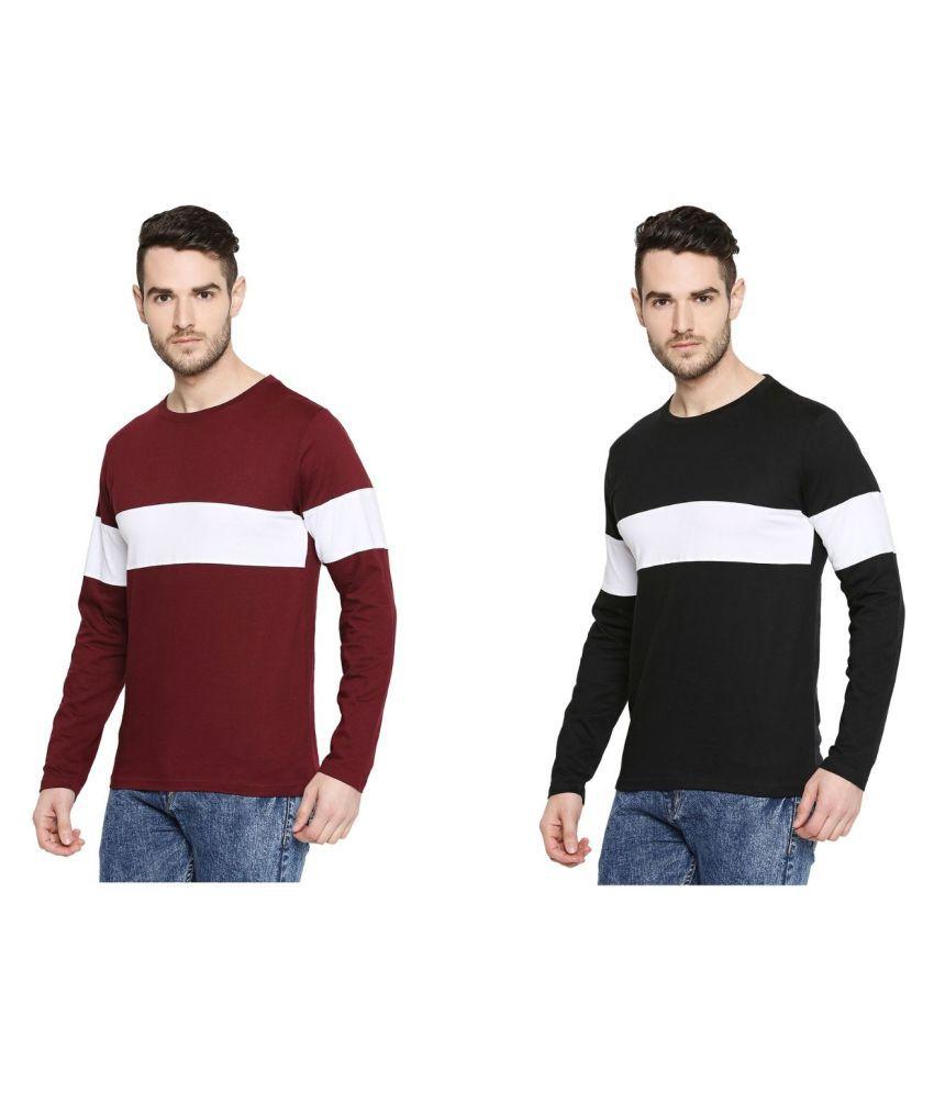 Jhankhi 100 Percent Cotton Multi Color Block T-Shirt