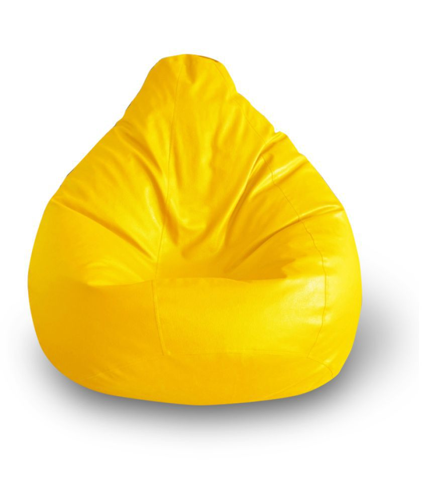 Style Homez Premium Leatherette Classic Bean Bag XXL Size Yellow Color, Cover Only