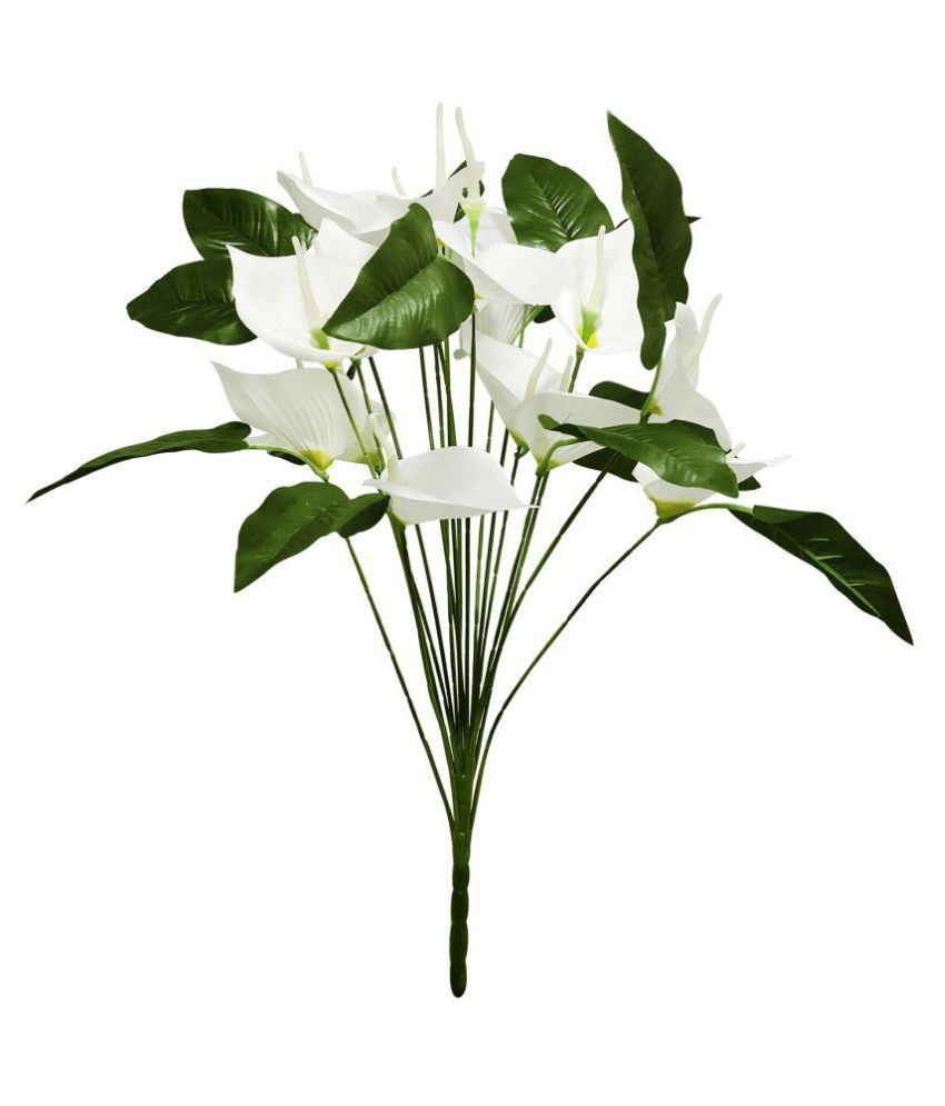fns store White Anthurium With Big Leaves Green Artificial Tree Plastic - Pack of 1