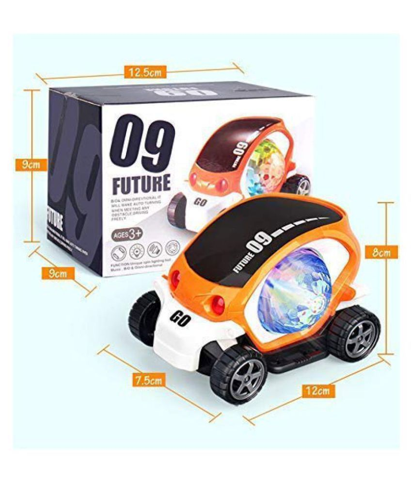 Bing Cherry 09 Future Car Non Rechargeable Battery Musical Stunt Car Rotate 360° with Flashing Light & Music