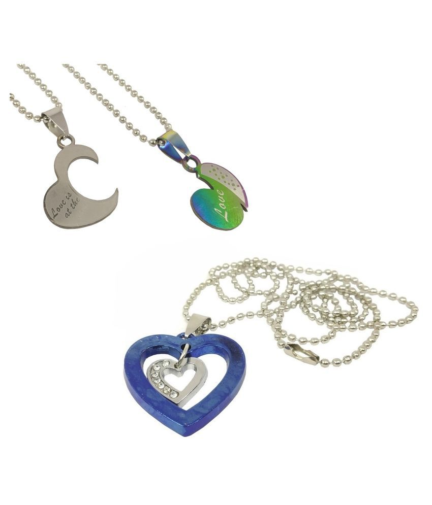 Stylewell Unisex CMB7117 Combo Of Fancy & Stylish Valentine's Day Metal Stainless Steel I Love You Heart Romantic Love Couple 2 In 1 Duo Locket And Heart With Diamond Nug Pendant Necklace With Chain