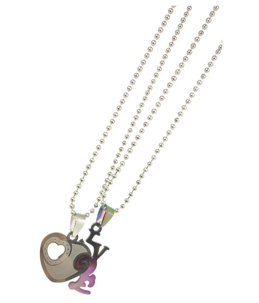 Stylewell Valentine's Day Special Metal Stainless Steel I Love You Heart Romantic Love Couple Silver And Blue 2 In 1 Beautiful Duo Pendant Locket Necklace With Chain For Boy's And Girl's