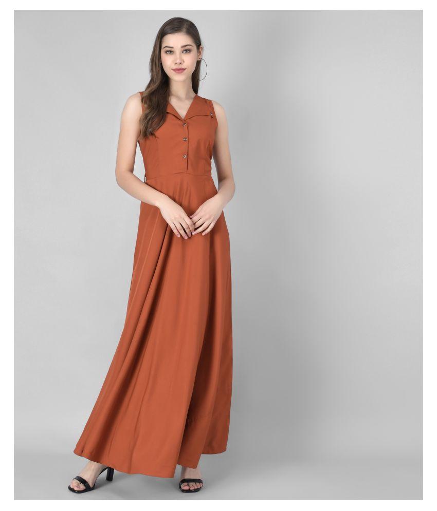 Rudraaksha Crepe Rust A- line Dress