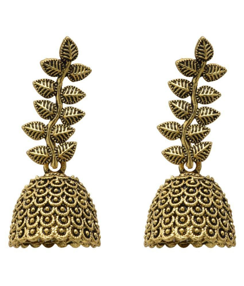 Jaishree Jewels Traditional Leaf Style Golden Hanging Jhumki Earring
