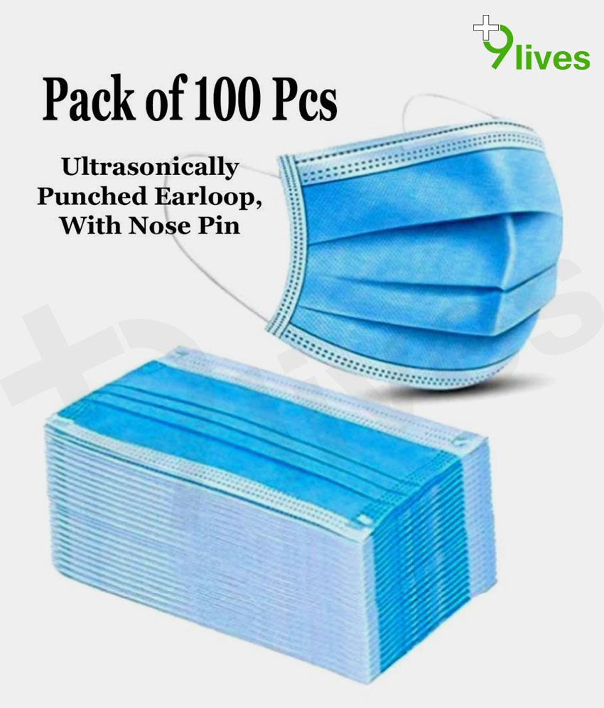 9Lives 3 ply face mask pack of 100 pcs