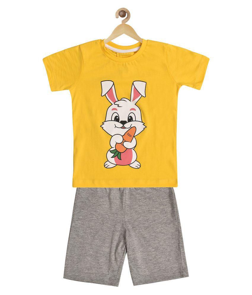 Wyld Sprog Boys Cute Rabbit Bunny Print Cotton Tshirt & Shorts set