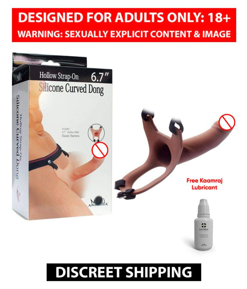 6.7 Inch Hollow Strap on Dildo With Belt In Flesh Color Sex Toy For Men + Free Lubricant