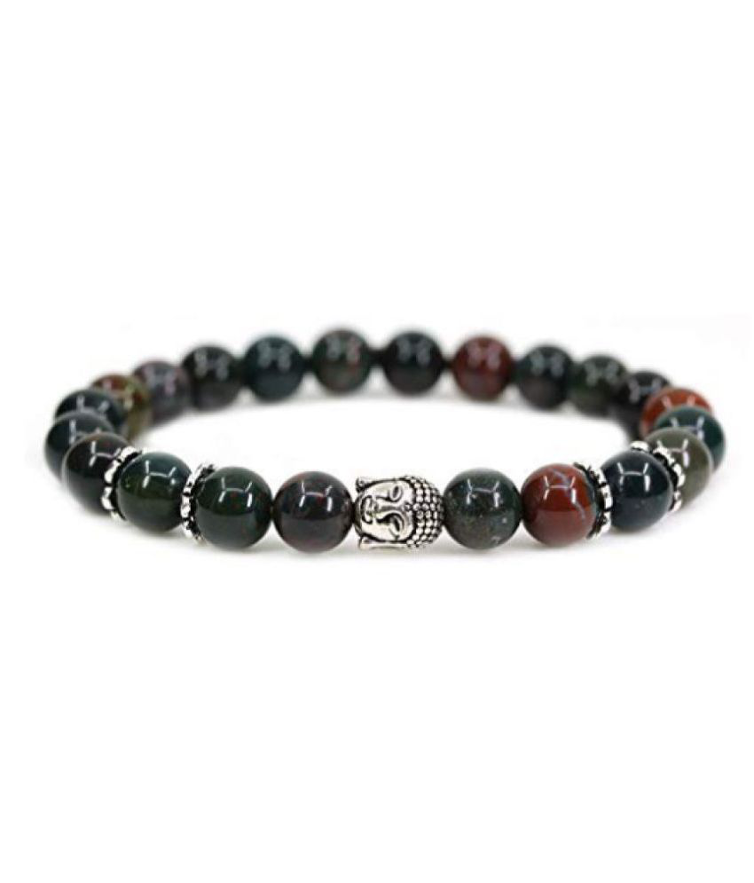 8mm Green & Red Bloodstone With Buddha Natural Agate Stone Bracelet