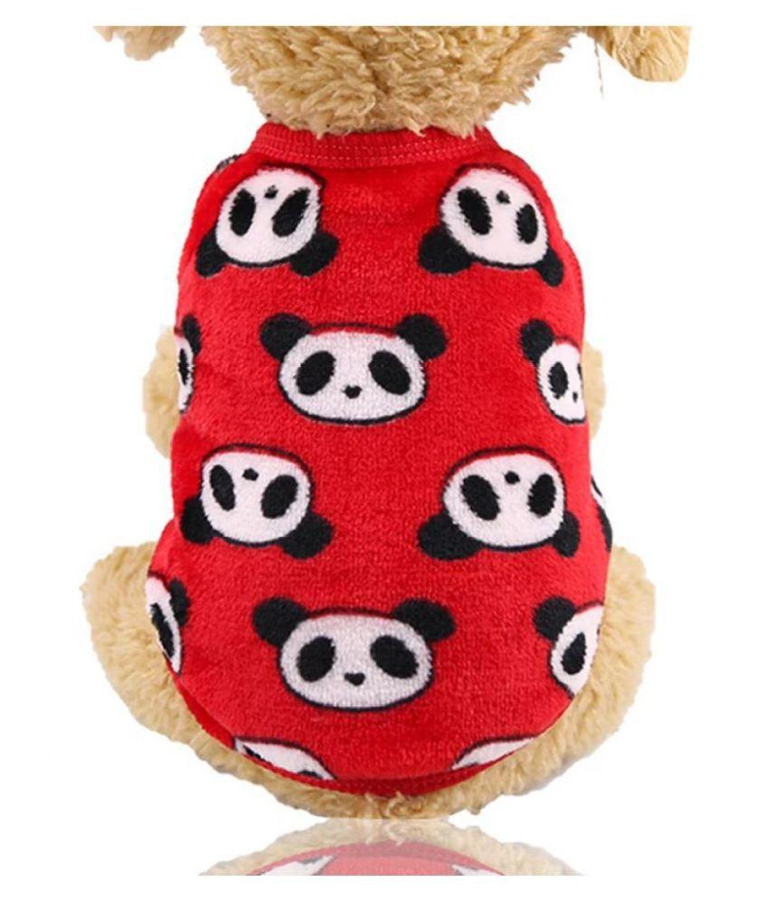 KUTKUT Cute Panda Cartoon Print Fashion Soft Flannel Fleece Shirt for Small Puppy / Cat (Size: L, Chest: 44 cm, Back Length: 35cm)