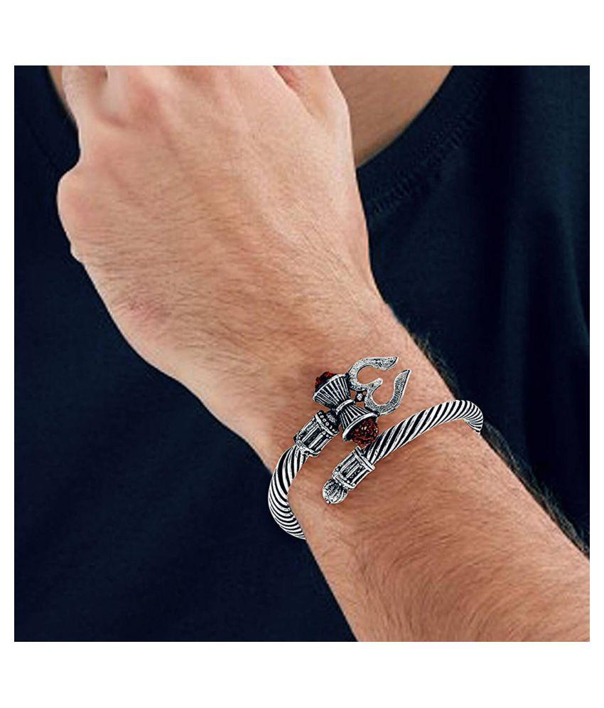 Adjustable  Trishul Damroo Rudraksha Bahubali Kada Bracelet Mahakal For Men Boys Girls