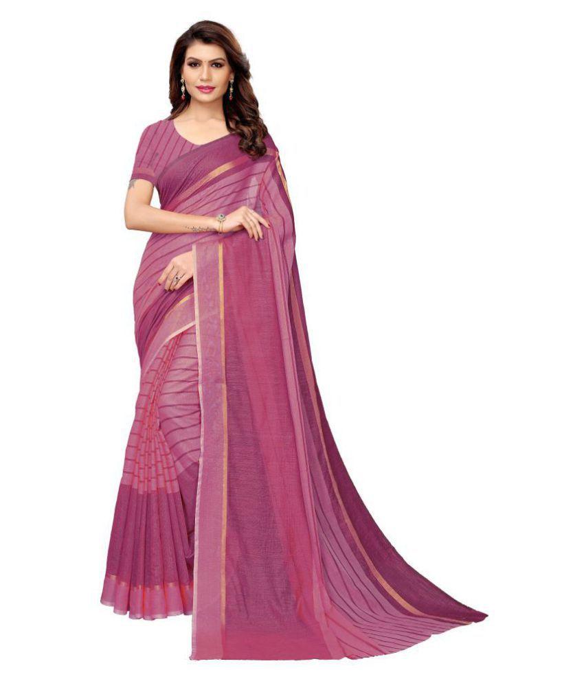 Gazal Fashions Purple Cotton Saree