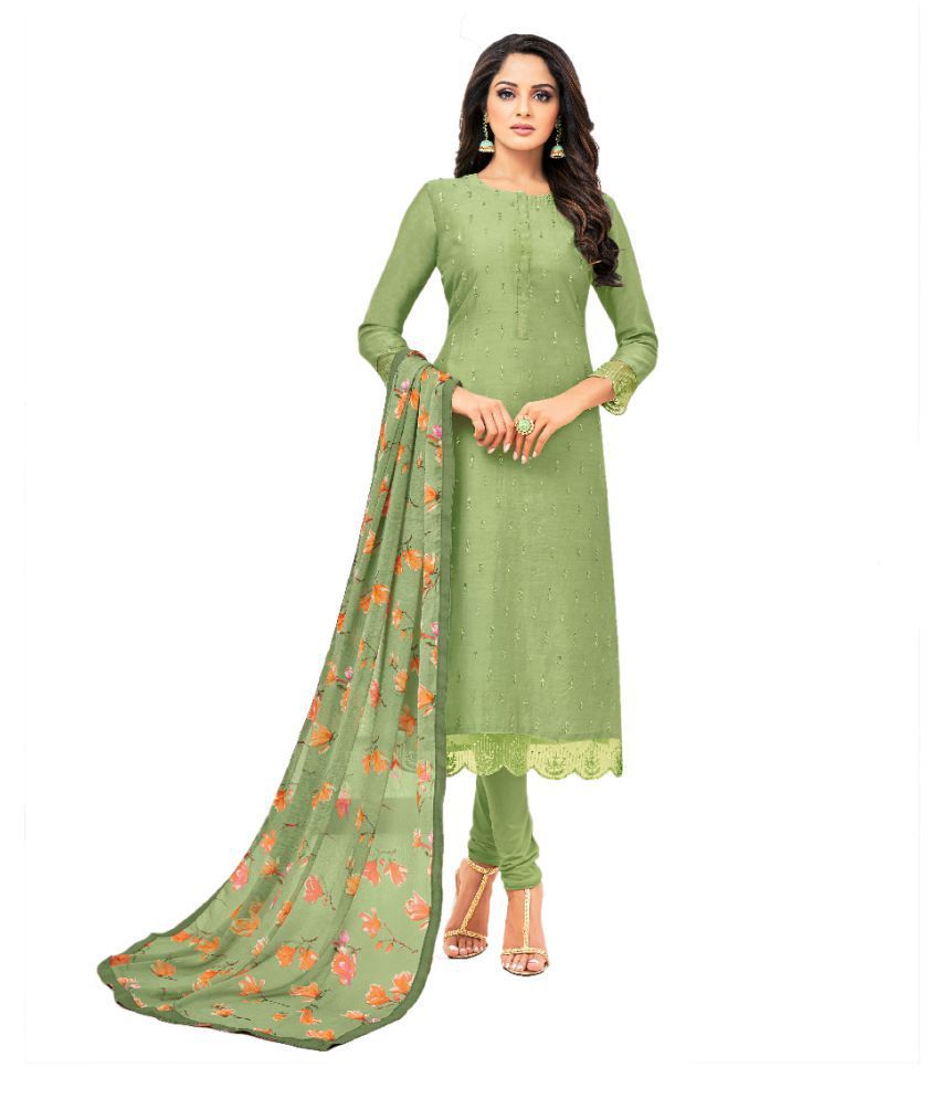 Maroosh Green Cotton Silk Straight Semi-Stitched Suit