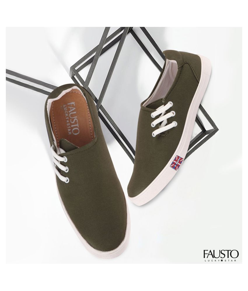 Fausto Sneakers Green Casual Shoes