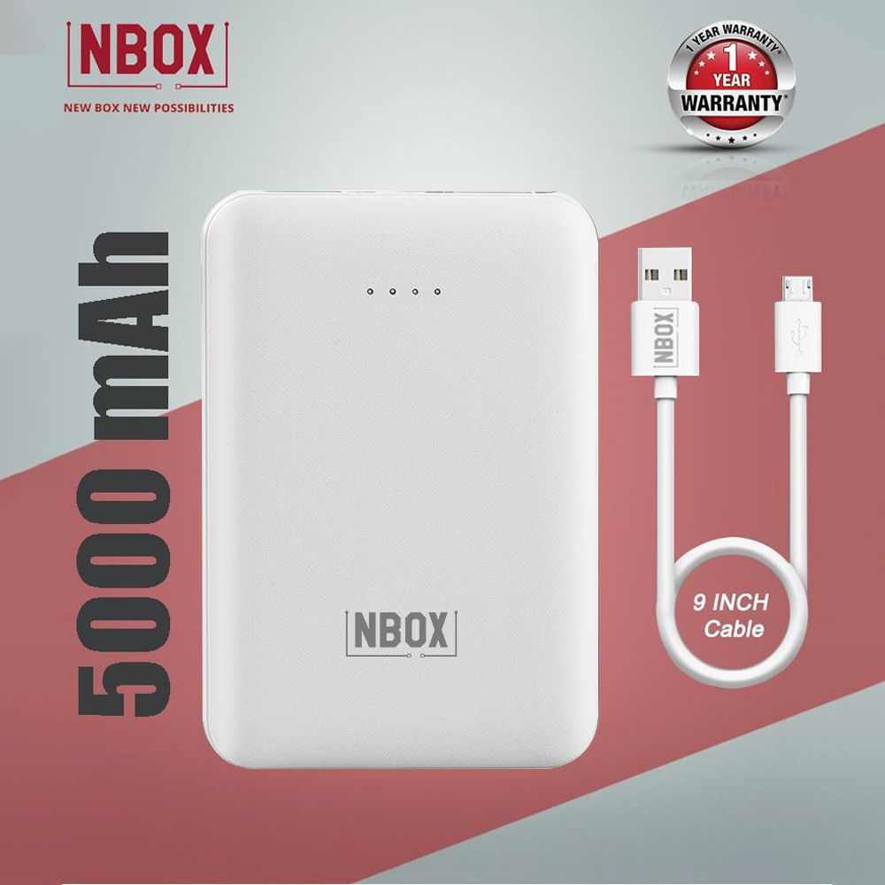 NBOX YB 2Amp 5000 -mAh Li-Polymer Power Bank-White