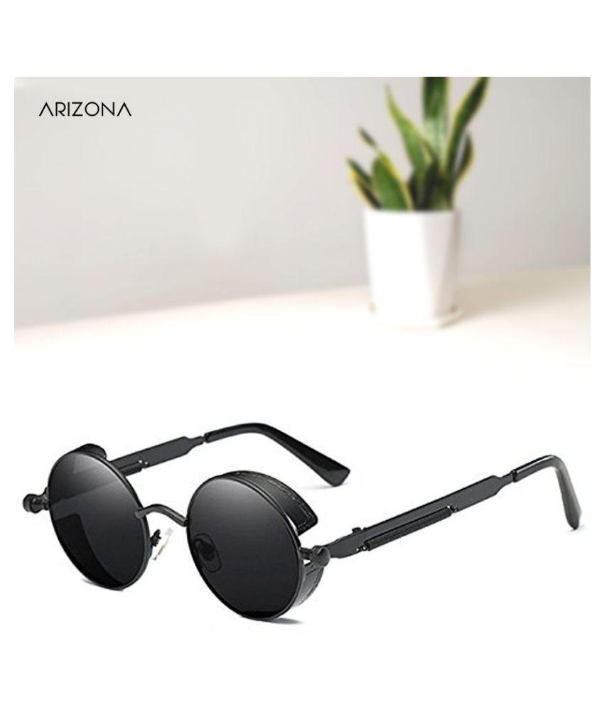 Arizona Sunglasses - Black Round Sunglasses ( 4003 )