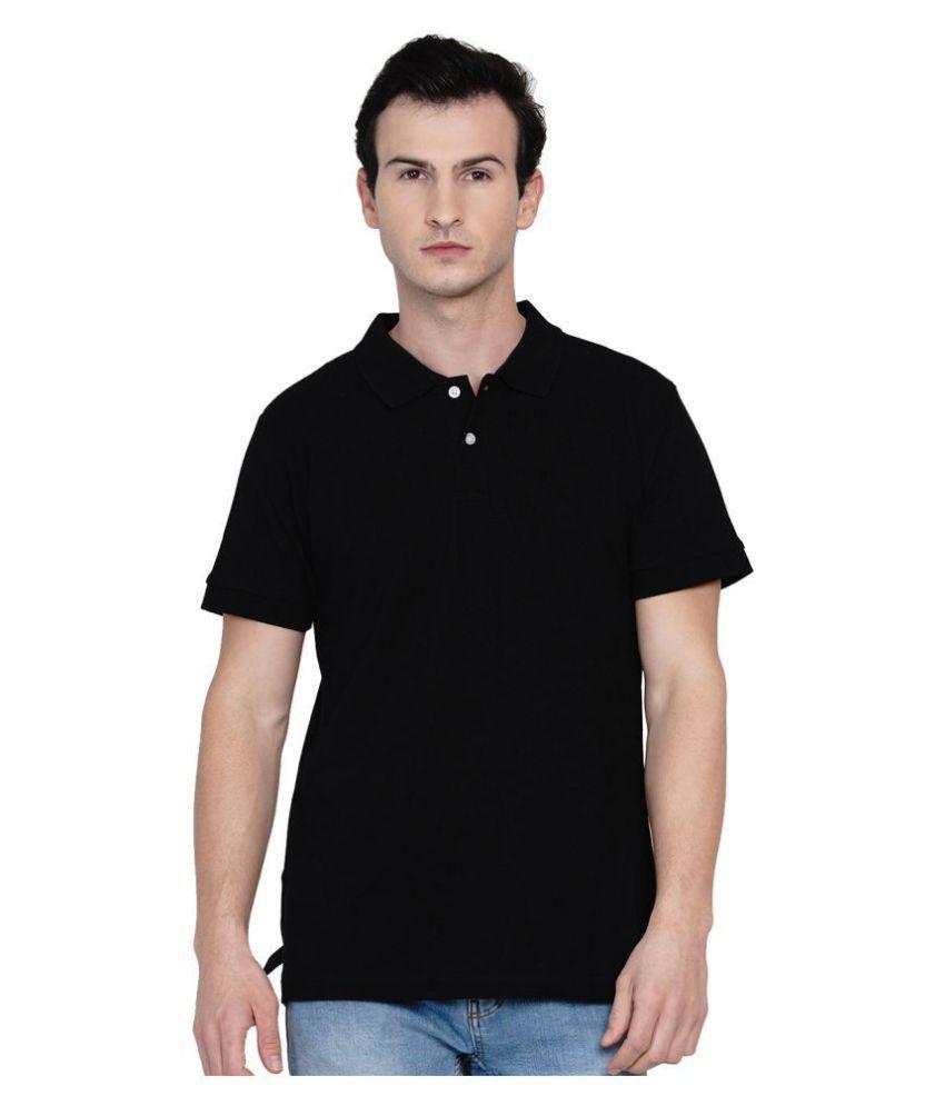 Knits and Weave 100 Percent Cotton Black Plain Polo T Shirt