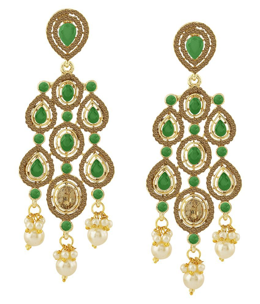 Spargz Cocktail Alloy Gold Plated Color Stone & Pearl Chandelier Earring For Women TER_275