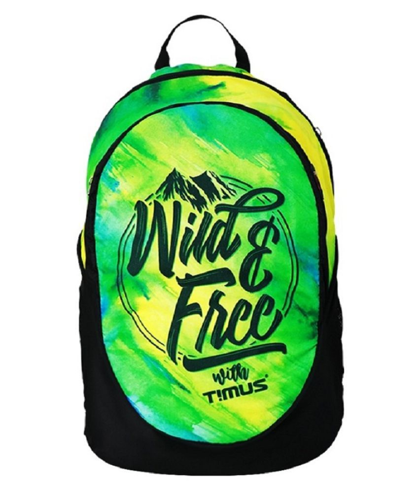 Timus Green Polyester College Bag