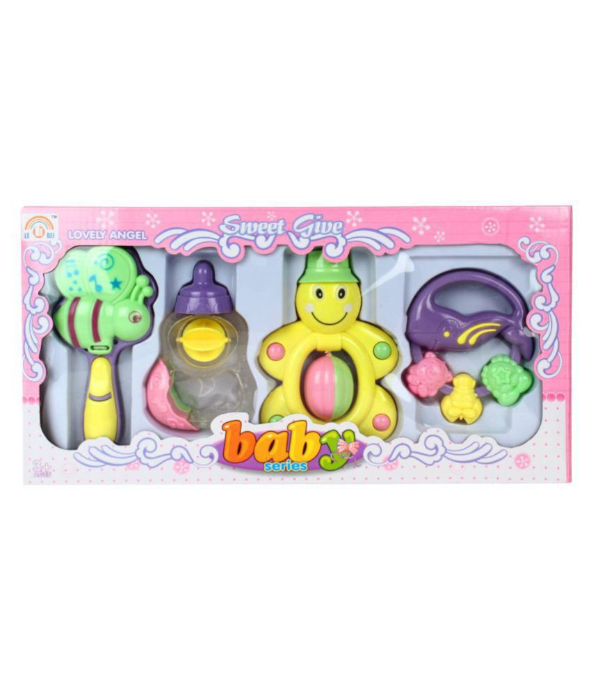 toybest™ Non Toxic Baby Rattle Set of 4 Pieces for Infants - Gift Pack