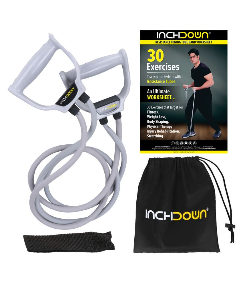 INCHDOWN Double Resistance Tube / Band for workout for Men & Women Weight & Stretch Band with Handles + Door Anchor + 30 Exercise Chart with Carry Bag