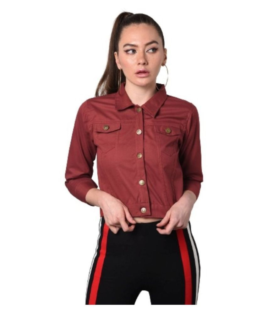 Dress Universal Cotton Blend Maroon Jackets