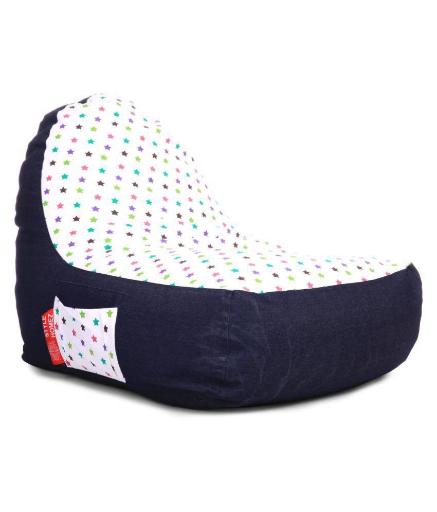 Style Homez Urban Design Denim Canvas Star Printed Chair Bean Bag XXL Size Cover Only