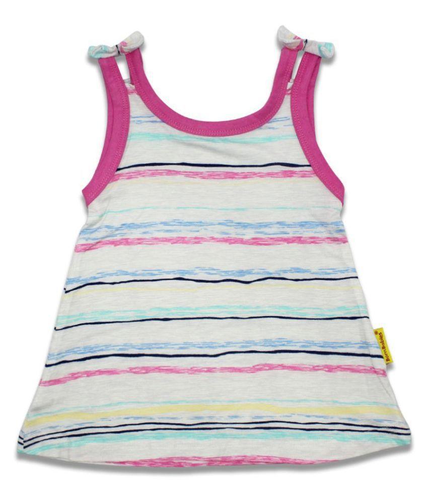 Born Babies® Self Printed Baby Short Dress Aline Frock Summer Dress Super Soft Dress Hosiery Cotton One Piece for Girls