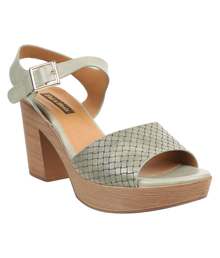 Flat N Heels Green Block Heels