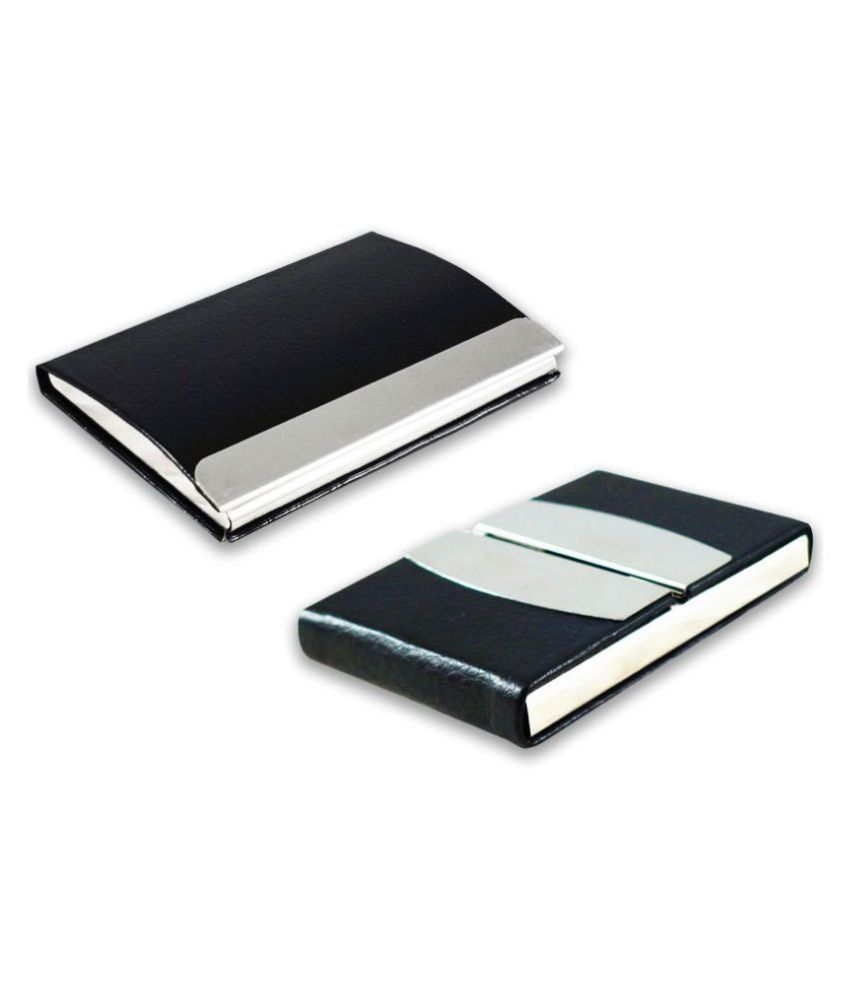 Multicolor Artificial Leather Professional Looking Debit/Credit/Business/Visiting Card Holders for Men and Women Set of 2 (upto 15 Cards Capacity)