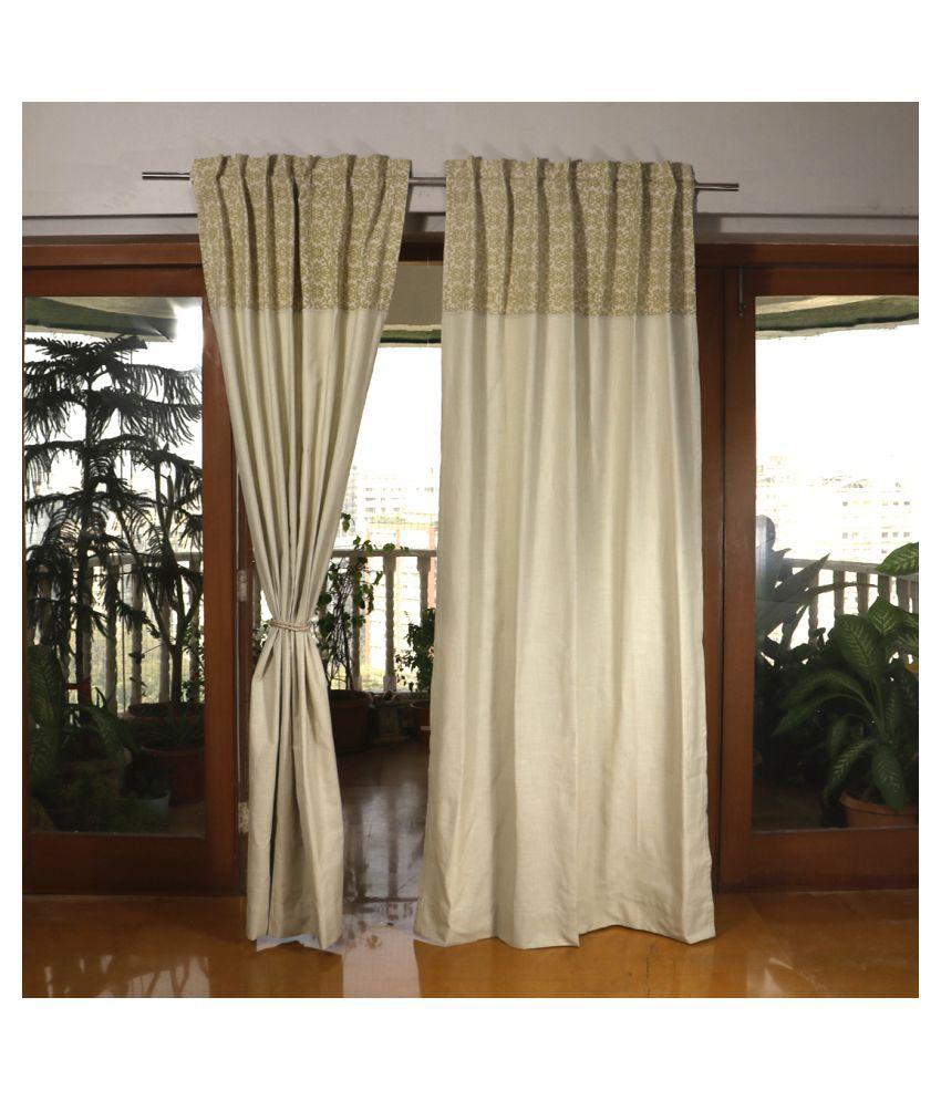 Zeba Single Door Rod Pocket Cotton Curtains Light Green