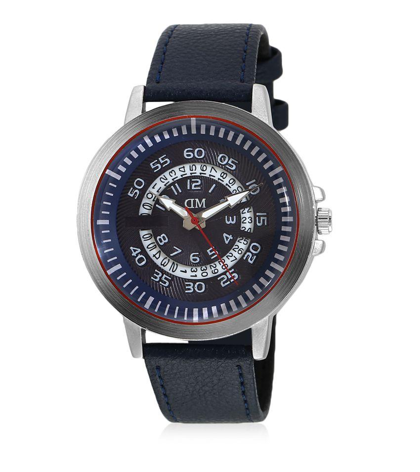 David Miller Blue Dial Blue PU Leather Strap Men's Watch - DMRCM104