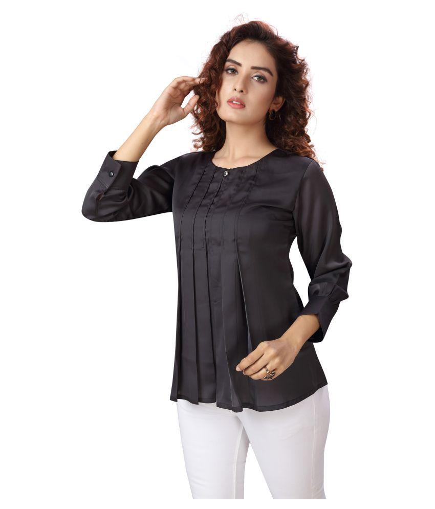 Madhuram Textiles Silk Regular Tops - Black