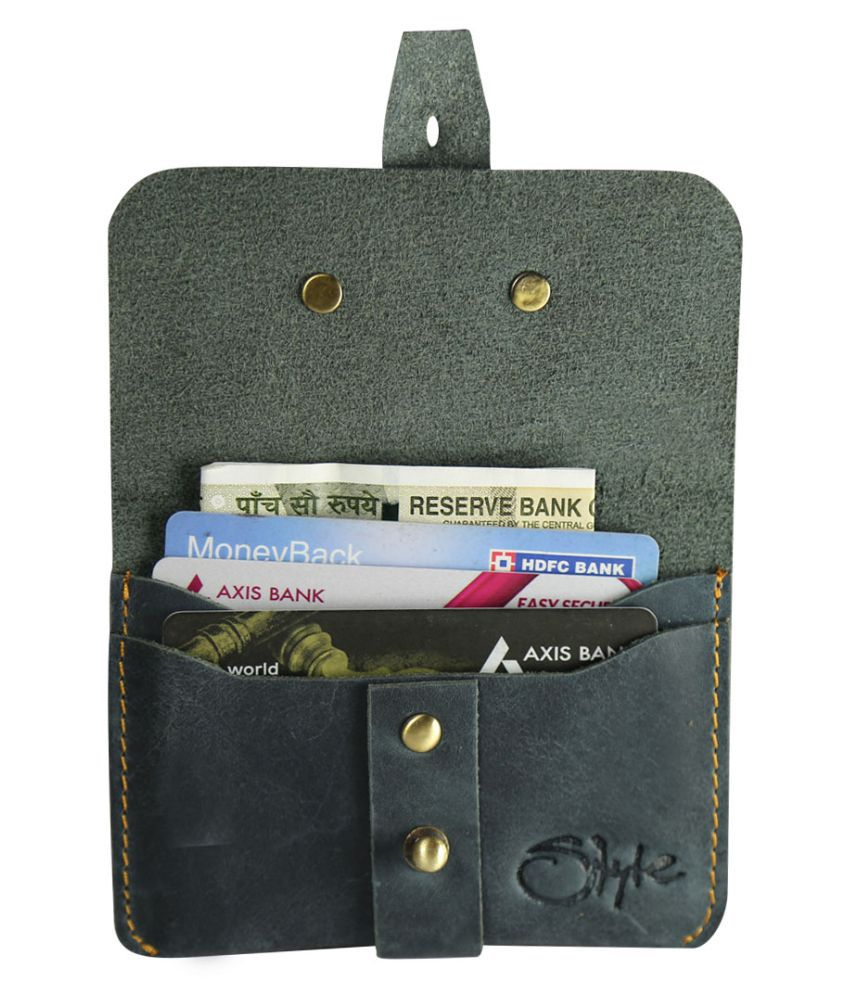 STYLE SHOES Button Gray Travel Card Holder