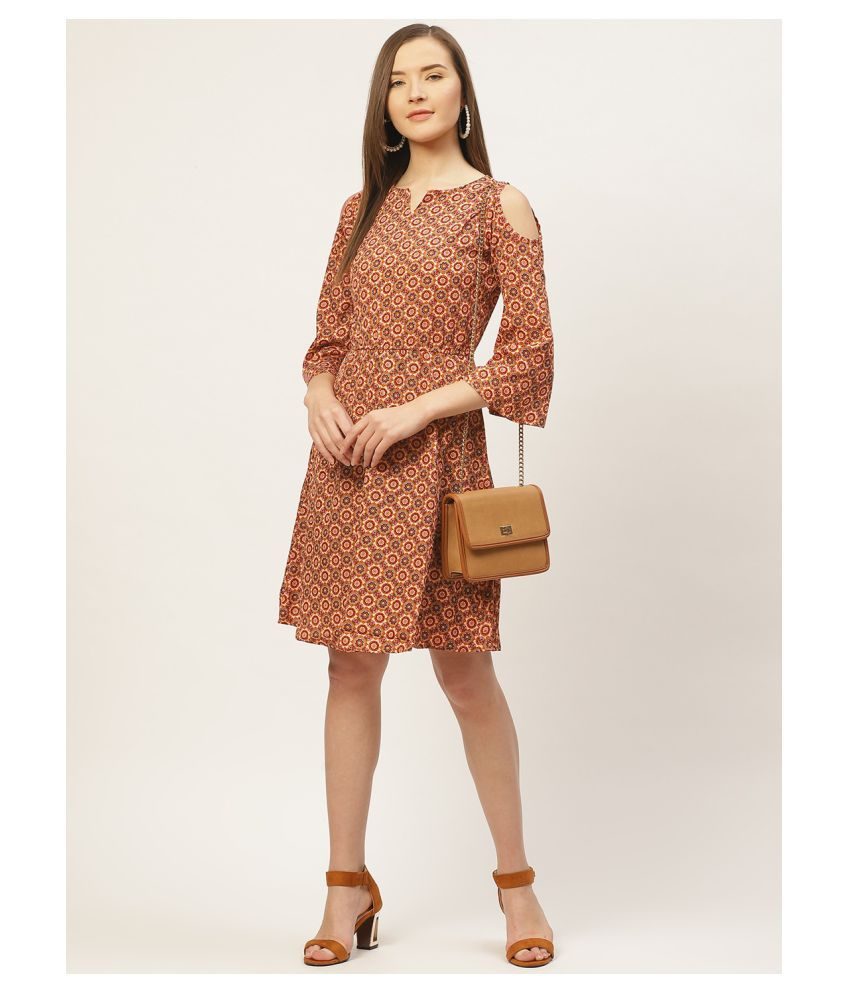 Taaruush Crepe Brown Regular Dress