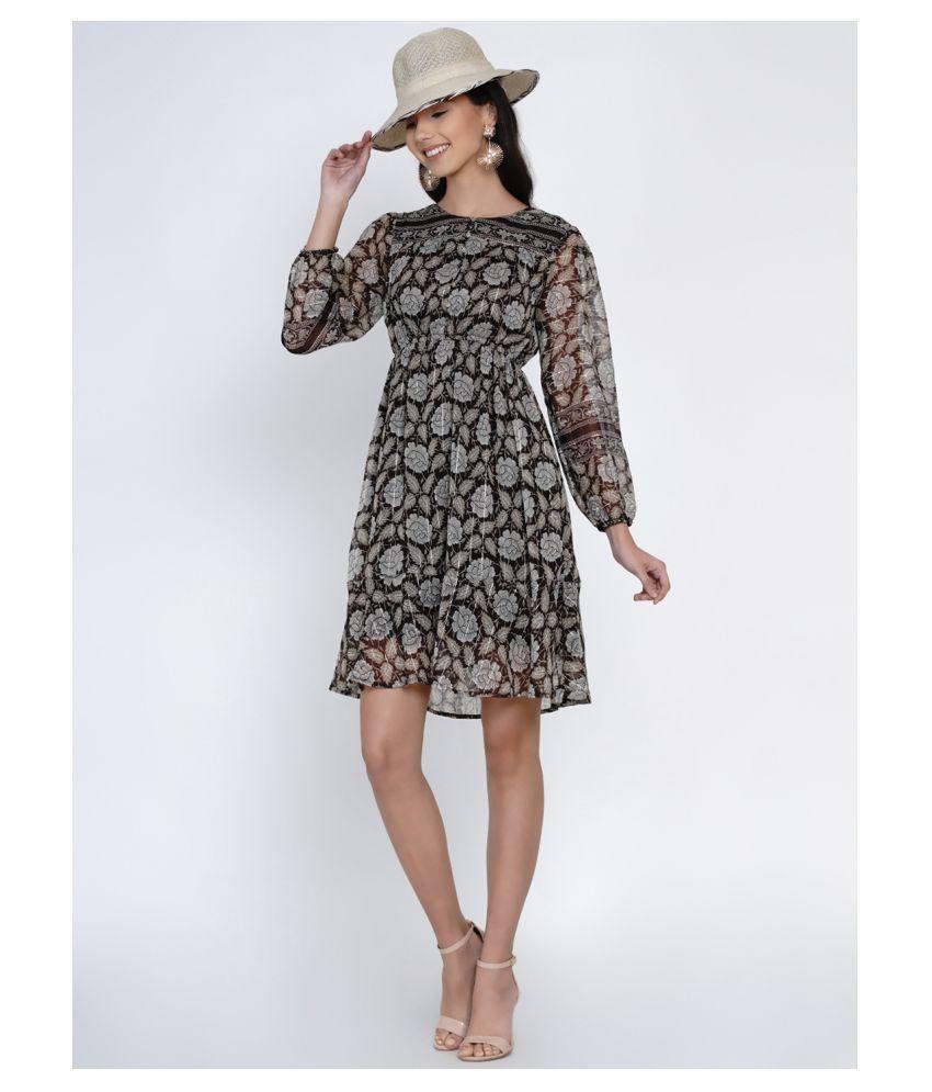 Abiti Bella Georgette Brown A- line Dress