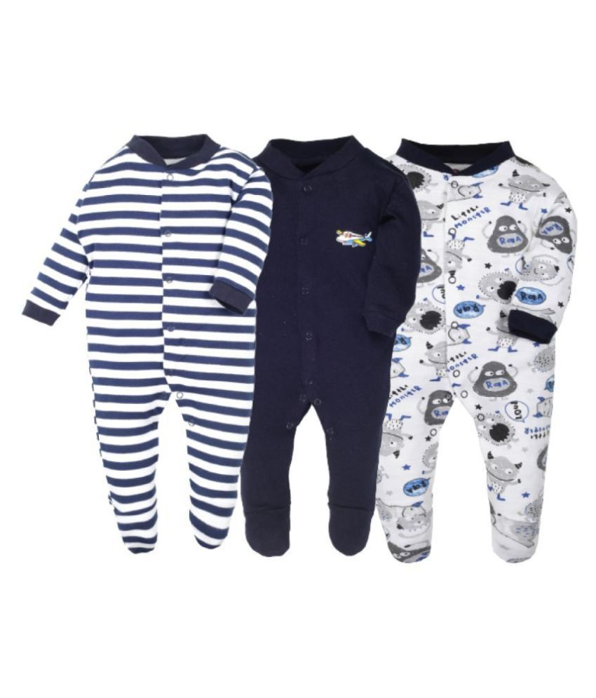 Baby Story Sleepsuits/Rompers/Jumpsuits Pack of 3 (0-12 months) for Baby Boys and Baby Girls 100% Cotton Summerwear/Winterwear