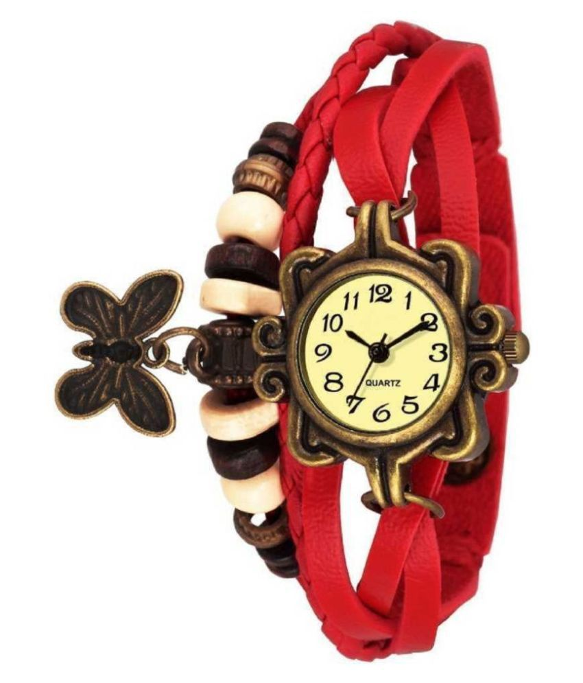 DECLASSE Girl's Red Rakhi Style Bracelet beautiful Butterfly Pendent valentine special