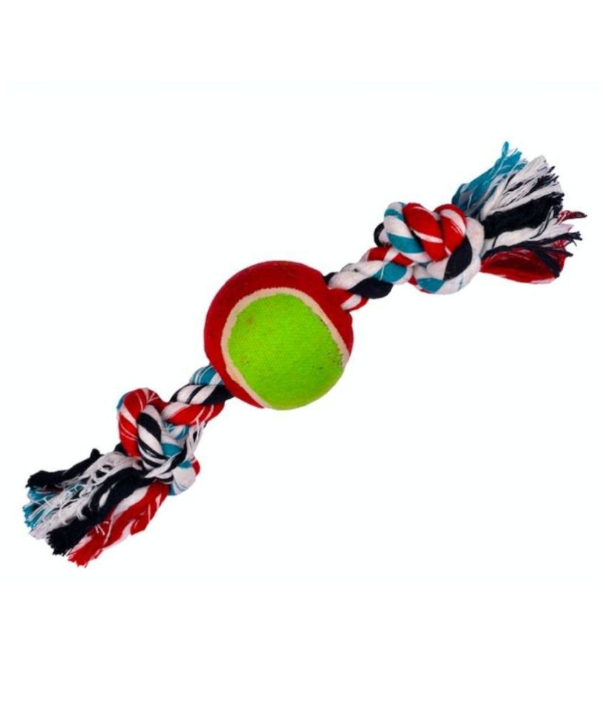 Double Knot Dog Rope Toy With Tennis Ball