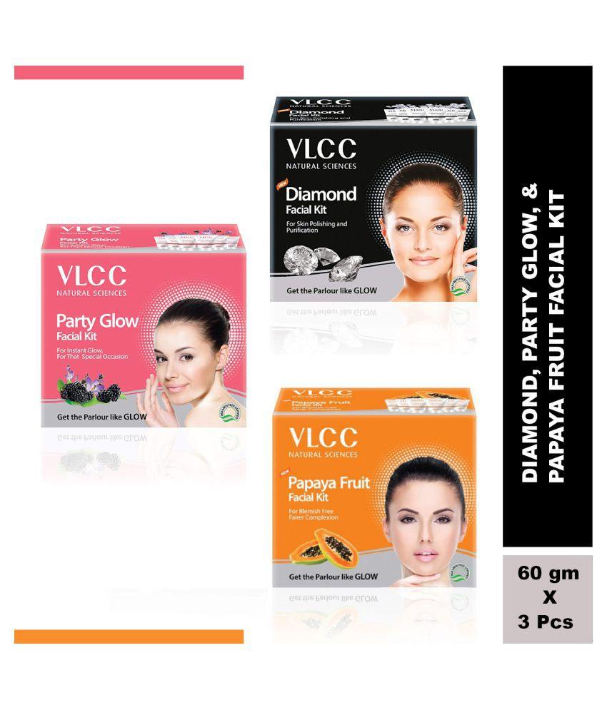 VLCC Original Papaya, Party Glow and Diamond Facial Kit - 60gm each (Pack of 3)